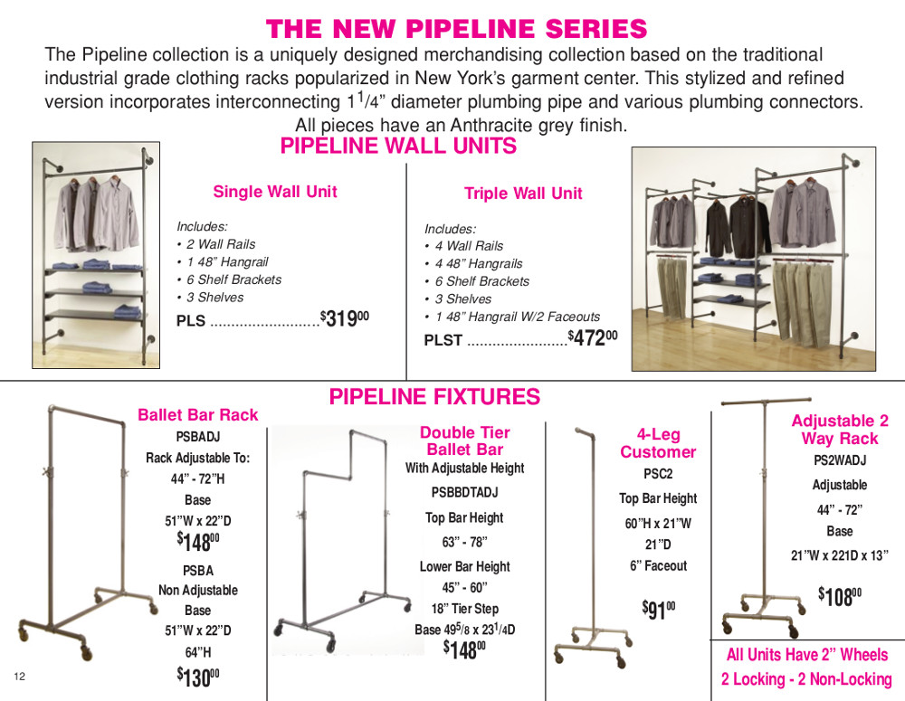 "M.E./D.E. 2015 Page 12 - Pipeline clothing racks - wall units & fixtures with 2"" wheels"